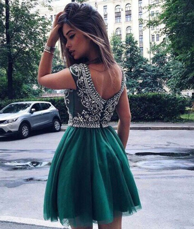 Women s Charming Short Beaded Tulle Homecoming Dress 2cbeb5396