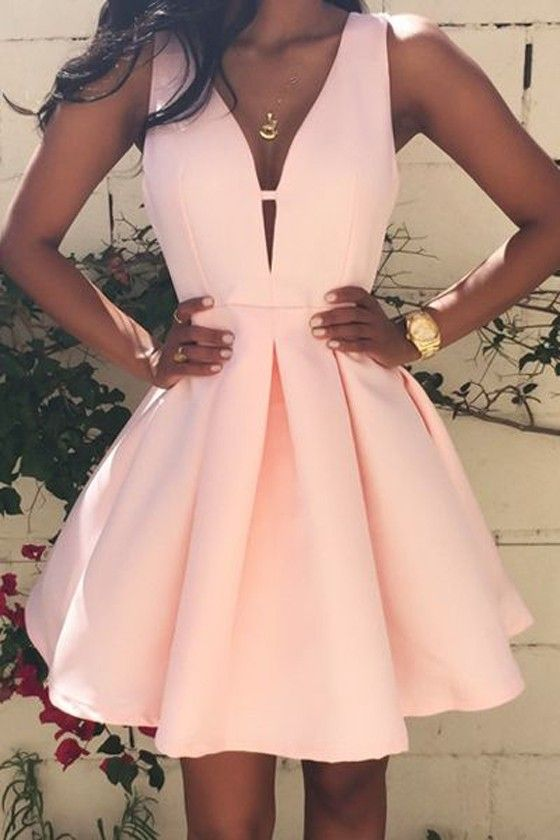 f1d4aedd0e Women s 2017 V-Neck Evening Party Gowns Short Satin Homecoming Prom Dresses  Pink Cocktail Gowns
