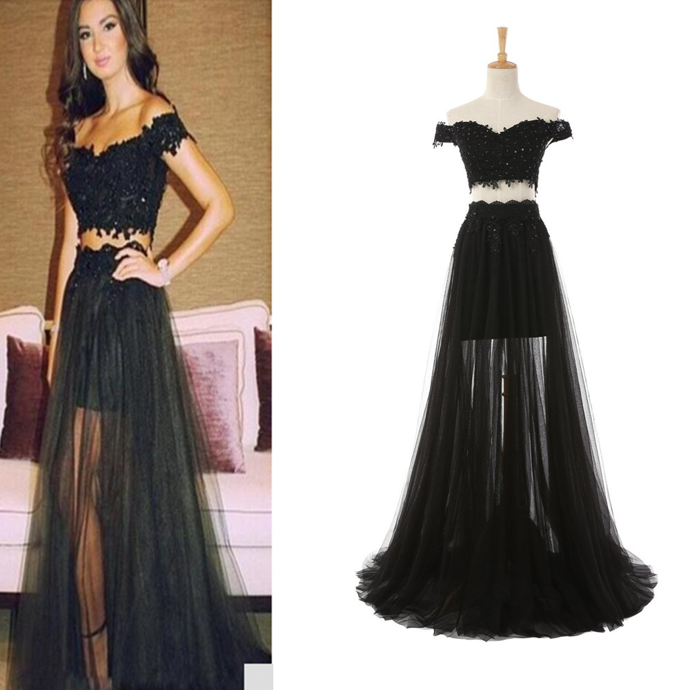 eba0969d956 Women s 2 Pieces Black Appliques Prom Dress Lace Evening Gowns Off the Shoulder  Lace Formal Dress PD124