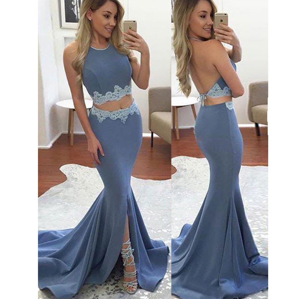 Mermaid Prom Dress,Charming Prom Dresses,Halter Prom Dress,Two ...
