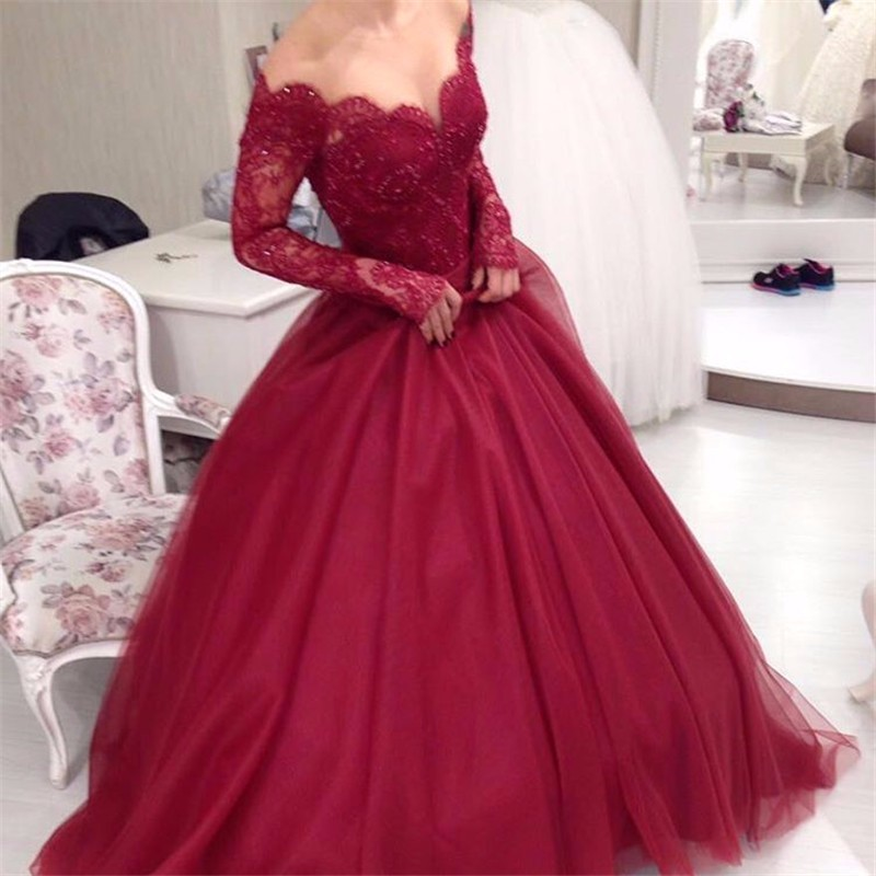 Elegant Bridal Dress Burgundy Wedding Ball Gown Long Sleeves Dresses Gowns Off The Shoulder Lace Pd140