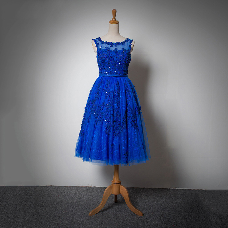Womens 2017 Custom Made Short A Line Royal Blue Wedding Dresses Lace Up Back Appliques Bridal Gowns Mid Calf PD197