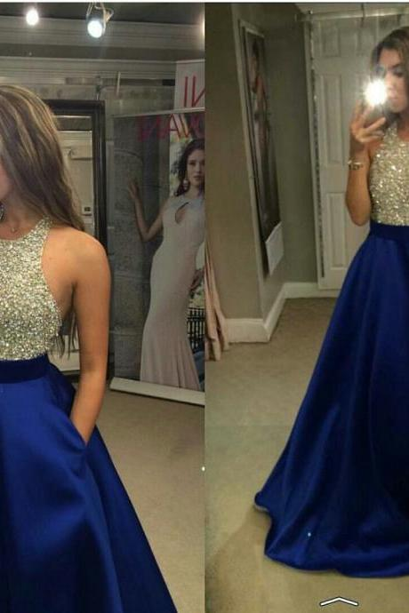 Women's Satin Prom Dress Halter Beaded Prom Gown Sequins Backless Long Evening Dresses PD075