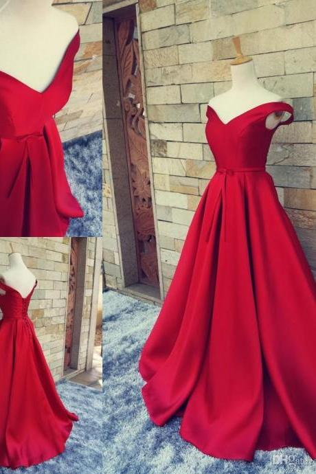 Red Prom Dresses,Long Prom Dresses,Off the Shoulder Prom Gown,Satin Prom Dresses,Discount Prom Dress,Floor Length Prom Dresses,PD142