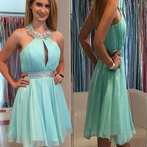 Women's Short Elegant Halter Sequins Mint Green Chiffon Homecoming Dresses Sexy Chest Design Prom Gown PD507
