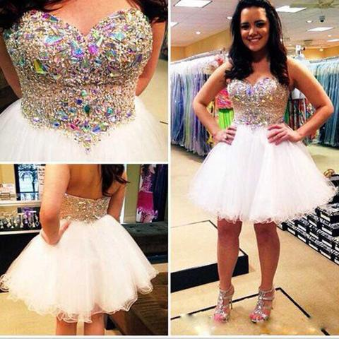 Women's Sweetheart Sparkly Beaded Homecoming Dress with Rhinestone Short A-Line Tulle Prom Cocktail Dress Graduation Dress PD509