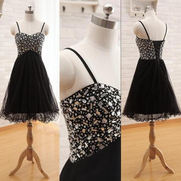Women's Sweetheart Sparkly Beaded Homecoming Dress with Rhinestones Short A-Line Tulle Prom Cocktail Dress Graduation Dress PD512