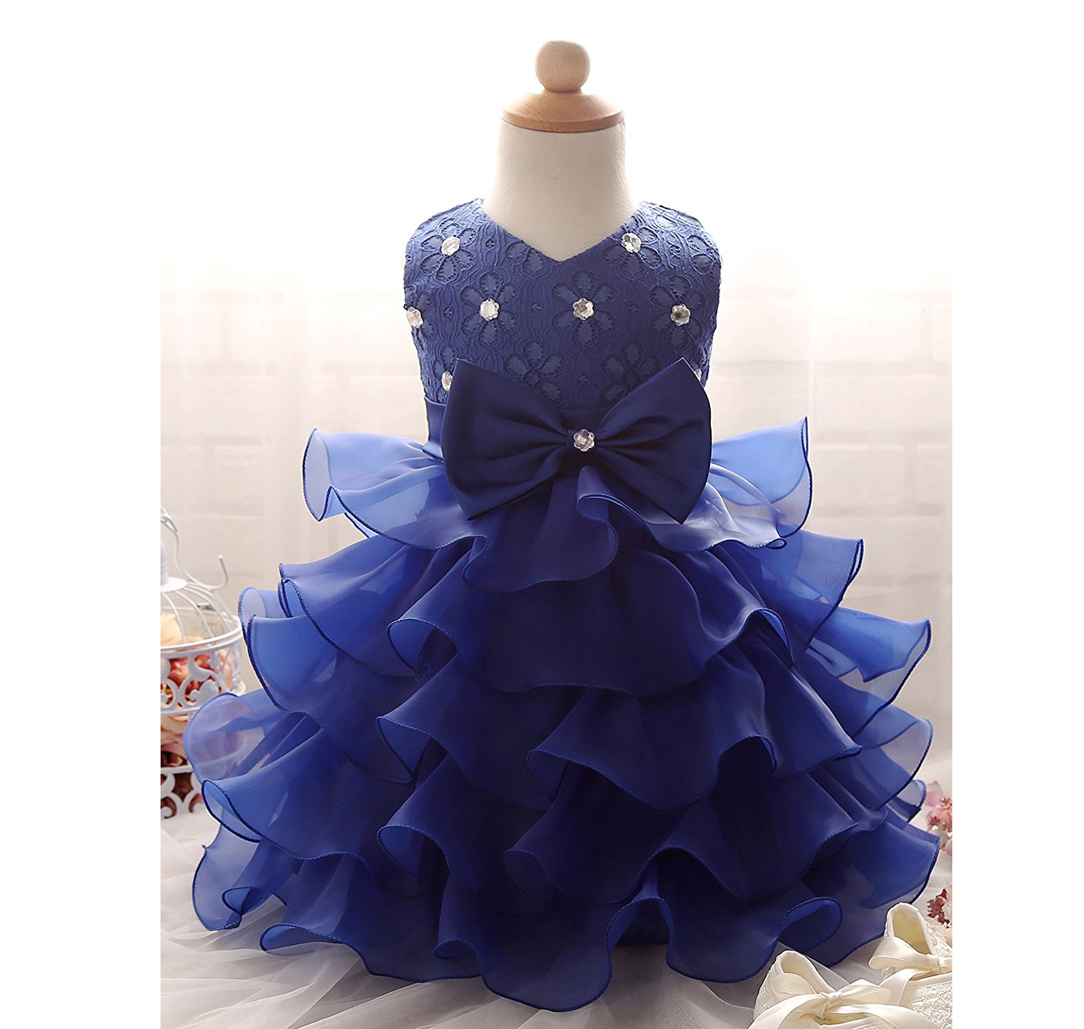 Girls Dress Flowergirl Dresses Wedding Party Dress Royal Blue Flower Girl Dress Ruffles Flower Girl On Luulla